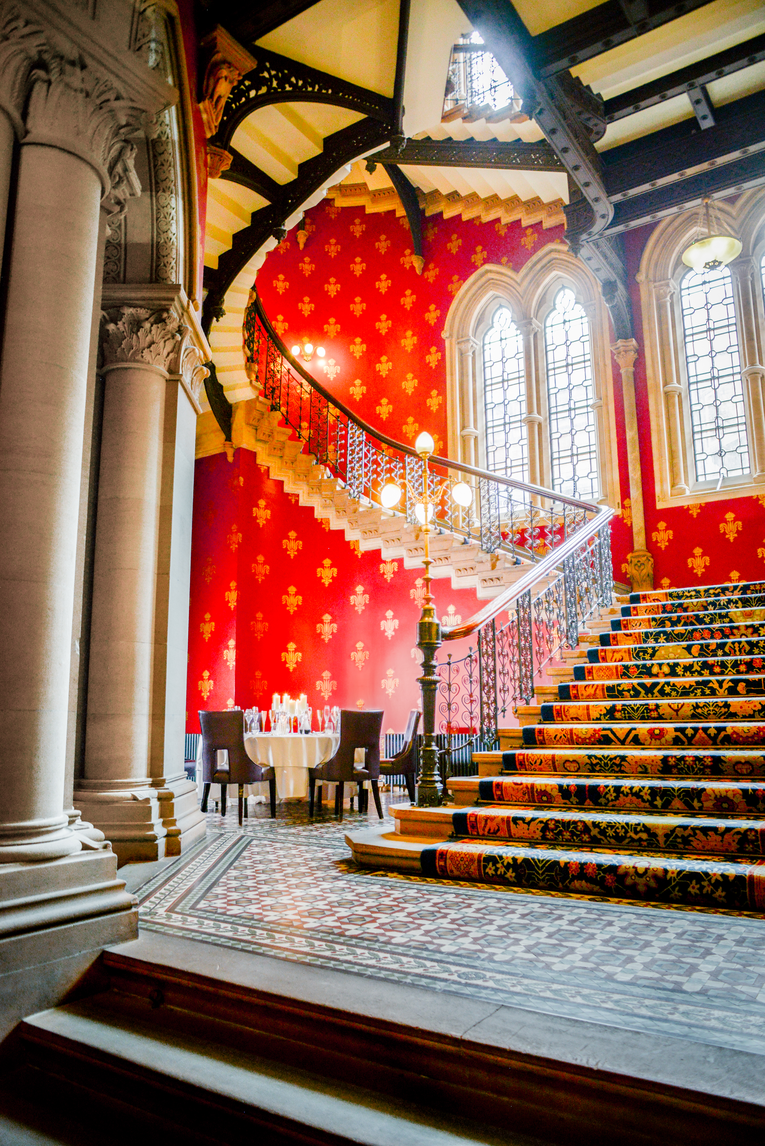 supper under the staircase at the st. pancras renaissance hotel