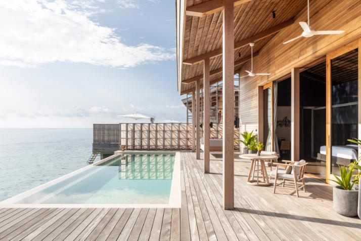 Kudadoo Private Island Bedroom Luxury Sea balcony - by Mark Captain, Luxuriate Life, Luxury Magazine UK