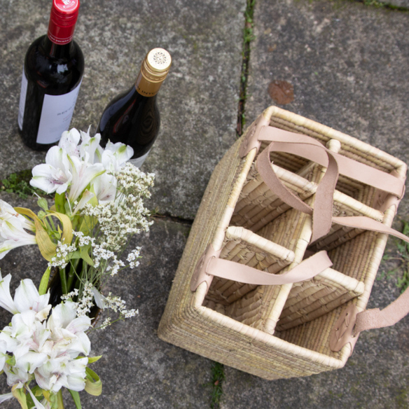 The Great Outdoors: Wine Basket with Leather Handle - by Mark Captain, Luxuriate Life Magazine, Luxury Magazine UK