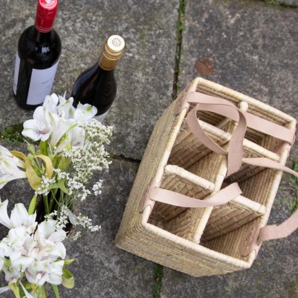 The Great Outdoors: Wine Basket with Leather Handle - by Mark Captain, Luxuriate Life Magazine, Luxury Magazine UK