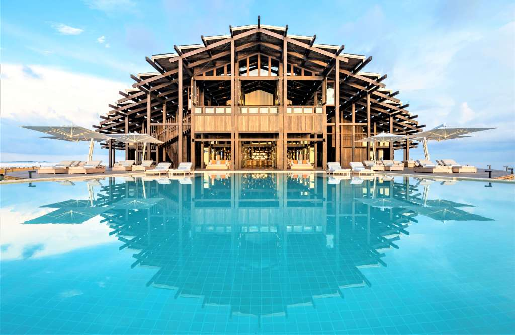 Kudadoo Private Island: A fully-inclusive Maldives resort experience with view of the Retreat as seen from the infinity pool - by Mark Captain, Luxuriate Life, Luxury Magazine UK